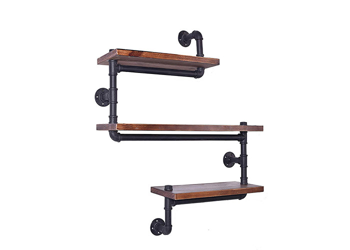 3 Layer Wooden Bookshelf Black Industrial Style Shelving For Kitchen / Bedroom